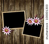 stamp frames and flowers over...   Shutterstock . vector #100001303