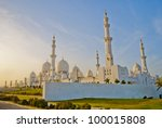 Abu Dhabi Sheikh Zayed White Mosque-Arabic World - stock photo
