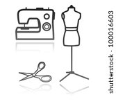 tailor's equipment | Shutterstock .eps vector #100016603