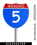 Editable Interstate sign - stock vector