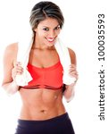 healthy fit woman smiling and... | Shutterstock . vector #100035593