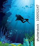 Beautiful coral reef and silhouettes of diver and school of fish in a blue sea - stock vector