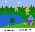 lake and cartoon house...   Shutterstock . vector #100052207