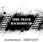 white tire tracks on black ink... | Shutterstock .eps vector #100072457