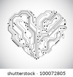 circuit board heart technology background - vector - stock vector