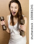 fitness woman working out with dumbbell - stock photo
