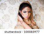 portrait of a beautiful indian... | Shutterstock . vector #100083977