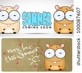 summer vector card with cartoon ... | Shutterstock .eps vector #100087607