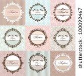 set of round floral vintage... | Shutterstock .eps vector #100092467