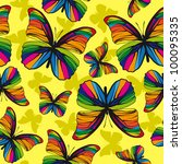 Rainbow butterflies on yellow background - stock vector