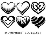 hearts tattoos | Shutterstock .eps vector #100111517