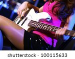 young guitar player with... | Shutterstock . vector #100115633