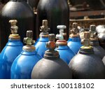 Acetylene and gas steel storage tanks for welding - stock photo