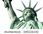 New York's Statue of Liberty isolated on white. - stock photo