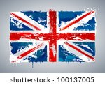 Grunge UK national flag. Vector illustration. - stock vector