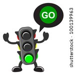 illustration of traffic light cartoon with traffic sign - stock vector