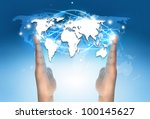 world map between hands | Shutterstock . vector #100145627