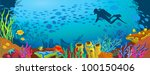 Colored coral reef with fish and silhouette of diver on blue sea background - stock vector