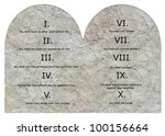 3d render of ten commandments - stock photo