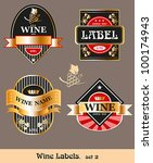 vintage wine label. vector set | Shutterstock .eps vector #100174943