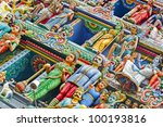 Detail of Hindu god and goddess - stock photo