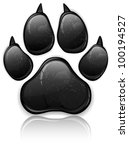Black Animal Paw Print Isolate...