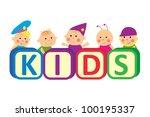 kids with blocks spelling kids. ...   Shutterstock .eps vector #100195337