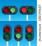 Railway Traffic Lights. Vector version is also available. - stock photo
