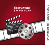 clapper board with movie film... | Shutterstock .eps vector #100196573