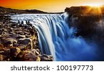 Dettifoss Waterfall At Sunset ...