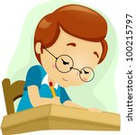 illustration of a geeky student ...   Shutterstock .eps vector #100215797