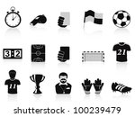 black football icons set - stock vector
