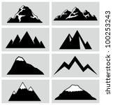 Mountain icons set. - stock vector