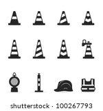 Traffic Warning Sign Icon Set...