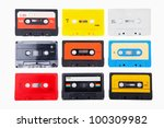 Collection of retro audio cassette - stock photo