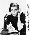 Portrait Of Woman On Telephone...