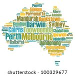 Australia map and words cloud with larger cities - stock photo