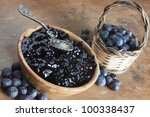 blueberry and blueberry jam in a bowl - stock photo