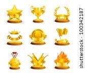 gold awards  vector set | Shutterstock .eps vector #100342187