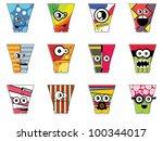 set of twelve monsters   Shutterstock .eps vector #100344017