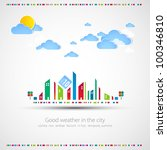 Funny city theme background with sun and clouds. - stock vector