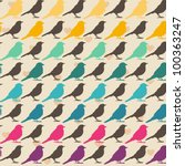 colorful birds seamless pattern. | Shutterstock .eps vector #100363247