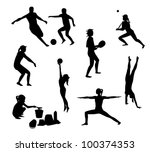 beach games silhouettes pack | Shutterstock .eps vector #100374353
