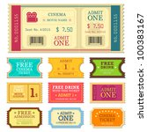 vector illustration of set of different movie ticket - stock vector
