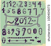 whimsical hand drawn numbers ...   Shutterstock .eps vector #100404073