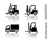 Set of transport icons - loader - stock vector