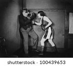 man and woman boxing | Shutterstock . vector #100439653