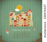 Collection of houses on vintage background - Retro card - vector illustration - stock vector