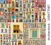 abstract wallpaper with many retro windows from Italy, Europe - stock photo