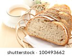 French bread, Pain de Campagne and coffee - stock photo